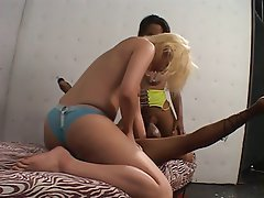 Interracial Lesbian Threesome Strapon