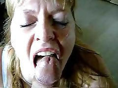 BBW Blonde Blowjob Facial MILF