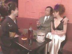Japanese Group Sex Threesome Brunette