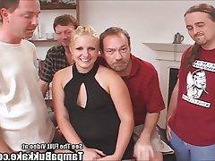 Amateur BBW Blonde Gangbang