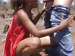 Interracial MILF Outdoor Threesome
