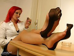 Foot Fetish Handjob Nylon Redhead Stockings