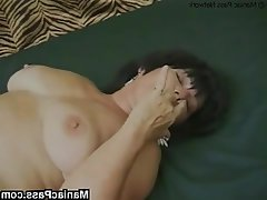 Big Boobs Brunette Facial Granny