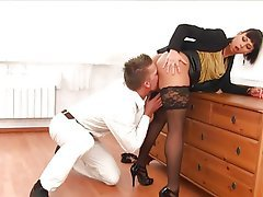 Blowjob Brunette Czech Facial Stockings