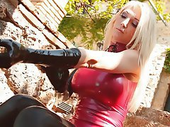 Amateur Blonde Latex Outdoor