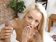 Blonde Facial Handjob Small Tits