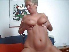 Blonde Granny Blowjob Cumshot