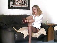 Amateur Blonde Nylon Stockings