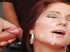 Brunette Bukkake Cum in mouth Facial
