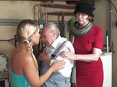Granny Hairy Mature Old and Young Threesome