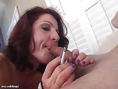 Blowjob Granny Mature Redhead Saggy Tits
