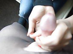Amateur Nylon Handjob