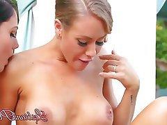 Babe Blonde Brunette Lesbian Outdoor