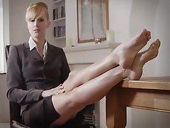 Blonde Femdom Foot Fetish Mistress Stockings