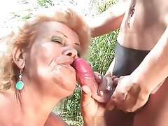 Mature Lesbian Outdoor Old and Young