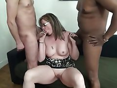 Blonde Interracial MILF Old and Young Threesome