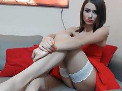 Brunette Footjob Stockings Handjob