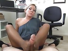Footjob Masturbation Office