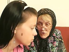 Blowjob Cumshot Granny Old and Young Threesome