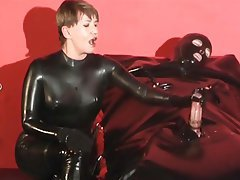 Cumshot Handjob Latex Mistress
