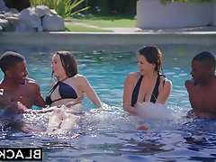 Black Foursome Brunette Creampie Facial