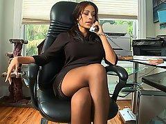 Office Stockings Brunette Cute