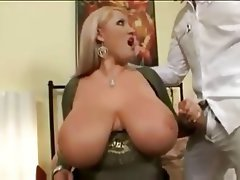 BBW Big Boobs Blonde Stockings