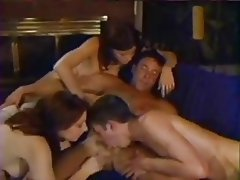 Bisexual Cumshot Group Sex Stockings