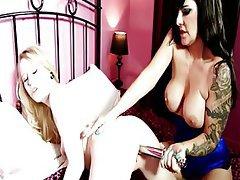 British Lesbian Stockings Strapon