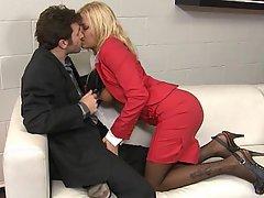 Office Blonde Stockings MILF