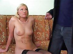 Blonde Blowjob Cumshot Facial Threesome
