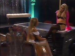 Lesbian Blonde Nylon Lingerie