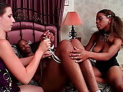 Handjob Threesome Interracial Brunette