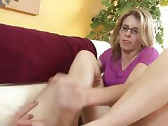 Close Up Cumshot Foot Fetish Handjob Old and Young
