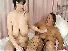 BBW Big Boobs Lesbian Mature Strapon