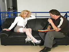 Anal Blonde Cumshot Mature Stockings