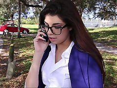 Brunette Coed Glasses Student
