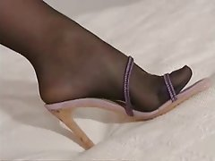 Blonde Foot Fetish Masturbation Stockings