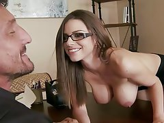 Babe Big Boobs Brunette Secretary