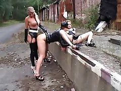 BDSM Spanking Outdoor Latex