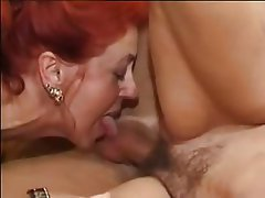 German Hairy Mature Redhead Threesome