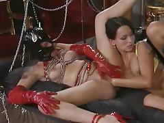 Anal Cumshot Latex Threesome