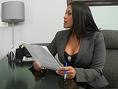 Big Tits Brunette MILF Office