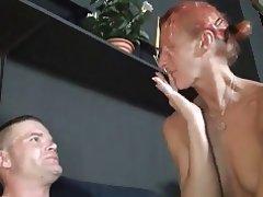 Babe Blowjob Cumshot Redhead Tattoo