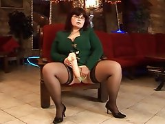 BBW Big Boobs Masturbation Stockings