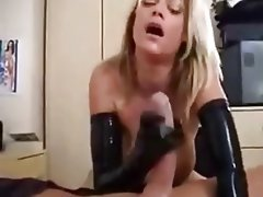 Blonde Cumshot Handjob Latex