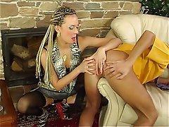 Blonde Femdom Russian Strapon