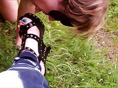 BDSM Outdoor Foot Fetish Nylon Stockings