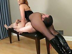 Face Sitting Femdom Redhead Stockings