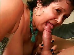 Blowjob Facial Brunette Granny